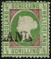 HELGOLAND 6b *, 1870, 1/2 S. Mittelbläulichgrün/karmin, L1, Repariert, Fein, Gepr. Schulz, Mi. 320.-