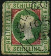 HELGOLAND 1II O, 1867, 1/2 S. Bläulichgrün/rötlichkarmin, Type II, Rundstempel, Starke Mängel, Fein,