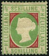 HELGOLAND 6a *, 1869 1/2 S. Blaugrün/dunkelkarmin, Falzreste, Feinst, Mi. 350.-