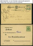 BAYERN Ca. 1873-1916, Partie Von 48 Fast Nur Verschiedenen Ganzsachen, Gebraucht Und Ungebraucht, Etwas Unterschiedlich,