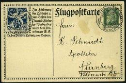 BAYERN SFP 1/02 BRIEF, 1912, 25 Pf. Blau BEAC Und 5 Pf. Grün, Alpenkette, Sonderstempel MÜNCHEN, Karte Eckknit
