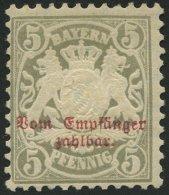 BAYERN P 8 *, 1885, 5 Pf. Türkisgrau, Wz. 3, Falzrest, Pracht, Mi. 70.-