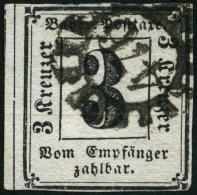 BAYERN P 1 O, 1862, 3 Kr. Schwarz, Nummernstempel 476, Feinst (helle Stelle), Mi. 400.-