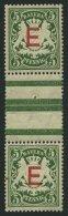 BAYERN D 2ZSIII **, 1908, 5 Pf. Dunkelgrün Im Senkrechten Zwischenstegpaar (dort Wie üblich 1x Gefaltet), &uum