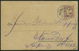 BAYERN 55 BRIEF, 1889, MÜNCHEN II T.F., Seltener K1 Zum 7. Dt. Turnfest Auf Farbiger Ansichtskarte Gruss Vom Festpl