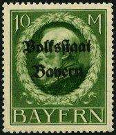 BAYERN 132IA **, 1919, 10 M. Volksstaat, Frühdruck, Pracht, Gepr. Dr. Helbig, Mi. 55.-