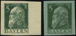 BAYERN 77PU **, 1911, 5 Pf. Luitpold, 2 Ungezähnte Probedrucke Auf Grünem Und Weißem Papier, 2 Prachtwer