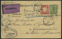 BAYERN 56By,P 38 BRIEF, 1894, 10 Pf. Karminrot, Als Zusatzfrankatur Auf 5 Pf. Ganzsachenkarte, Nachnahmekarte Von N&Uuml