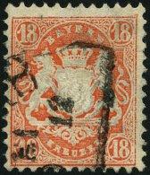 BAYERN 36 O, 1875, 18 Kr. Dunkelzinnoberrot, Wz. 2, Pracht, Gepr. H. Krause, Mi. 75.-