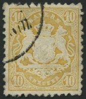BAYERN 29Yb O, 1873, 10 Kr. Dunkelgelb, Wz. Weite Rauten, Pracht, Gepr. Stegmüller, Mi. 80.-