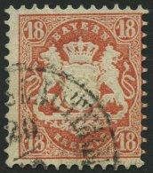 BAYERN 27Xb O, 1870, 18 Kr. Dunkelziegelrot, Wz. Enge Rauten, Pracht, Gepr. Drahn, Mi. 240.-