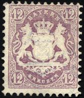 BAYERN 26X O, 1870, 12 Kr. Dunkelbraunpurpur, Wz. Enge Rauten, Zarter Stempel MÜNCHEN, Pracht, Fotobefund Brettl, M