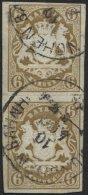 BAYERN 20 Paar O, 1868, 6 Kr. Ockerbraun Im Senkrechten Paar, K1 MÜNCHEN BAHNH., Pracht (waagerechten Bugspur Zwisc