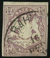 BAYERN 18 O, 1867, 12 Kr. Hellbraunviolett, Pracht, Mi. 120.-
