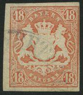 BAYERN 19 O, 1867, 18 Kr. Dunkelzinnoberrot, Pracht, Signiert H.K., Mi. 220.-