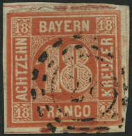 BAYERN 13b O, 1866, 18 Kr. Blassrot, Etwas Bayernbrüchig, Feinst, Mi. 600.-