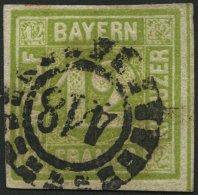 BAYERN 12 O, 1862, 12 Kr. Dunkelgelbgrün, Offener Mühlrad-Stempel 418, Breitrandig Pracht, Mi. 100.-