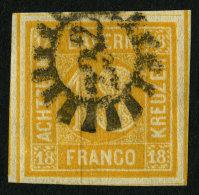 BAYERN 7 O, 1854, 18 Kr. Gelblichorange, Mühlrad-Stempel 232, Mit 4 Schnittlinien, Kabinett, Gepr. Brettl, Mi. (240