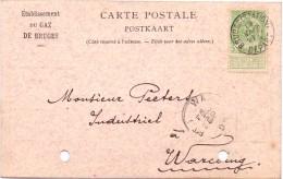 Briefkaart - Postkaart - Carte Postale - Pub Reclame Etab. Du Gaz De Bruges - Brugge à Warcoing - 1908 - Postcards [1871-09]