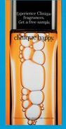 Cartes Parfumées Carte  CLINIQUE HAPPY  De CLINIQUE RECTO VERSO CARTE AMÉRICAINE - Modernes (à Partir De 1961)
