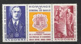 Andorra -Franc 1972 Ch. De Gaulle Y=224-25 E=245-46 SG F243-44