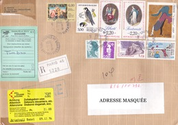 Lettre Recommandée Voyagée Le 06/12/1996 Tp  Faucon, Bicentenaire X2, La Danseuse, Europa, Mont Ségur, Et Mariannes - France
