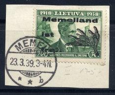 MEMEL 1939 Local Issues 30 C. With Type III Overprint, Used On Piece.  Michel II  III - Klaipeda