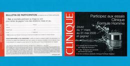 Cartes Parfumées Carte CONCOURS  De CLINIQUE - Perfume Cards