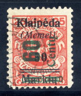 MEMEL 1923 (Nov.) Surcharge 60 C. On 50 Mk. On 25 C., Used.  Signed Dr. Petersen BPP.  Michel 233 I - Klaipeda
