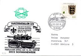 """(BWH2) BRD Cachetumschlag Bundeswehr HEER """"PANZERBATAILLON 324"""" SSt 10.3.1992 BONN 12"""