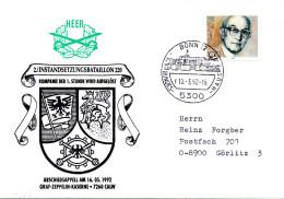 """(BWH2) BRD Cachetumschlag Bundeswehr HEER """"2. INSTANDSETZUNGSBATAILLON 220"""" SSt 10.3.1992 BONN 12"""