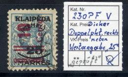 MEMEL 1923 (Nov.) Surcharge 10 C. On 25 Mk. On 5 C. With Plate Flaw V, Used.  Signed Matheisen BPP.  Michel 239 PF V - Klaipeda