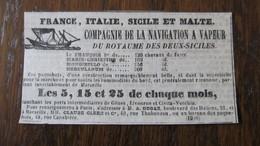 BATEAUX A VAPEUR - FRANCE , ITALIE , SICILE ET MALTE - COMPAGNIE DU ROYAUME DES DEUX-SICILES - 1842. - World