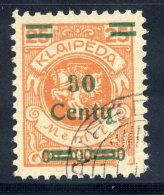 MEMEL (Lithuanian Occupation) 1923 (Dec.) 30 C. On 25 Mk. Used.  Michel 224 I