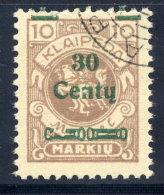 MEMEL (Lithuanian Occupation) 1923 (Dec.) 30 C. On 10 Mk. Used.  Michel 222 I