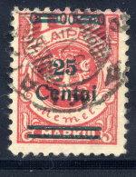 MEMEL (Lithuanian Occupation) 1923 (Dec.) 25 C. On 100 Mk. Used.  Michel 219 I