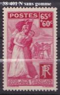 FRANCE ANNEE 1938 N° 401 NEUF Sans Gomme