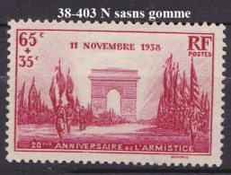 FRANCE ANNEE 1938 N° 403 NEUF Sans Gomme