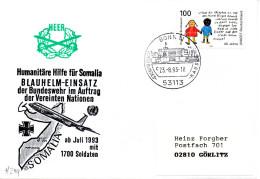 "(BWH2) BRD Cachetumschlag Bundeswehr HEER ""Humanitäre Hilfe Für Somalia"" SSt 23.8.1993 BONN 12"