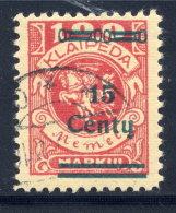 MEMEL (Lithuanian Occupation) 1923 (Dec.) 15 C. On 100 Mk. Used.  Michel 211 I