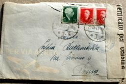 ITALIA REGNO 1941, ALBANIA , VEIII CENT 5 ,E CENT 15  SU AEROGRAMMA , VERIFICATO PER CENSURA - Albania