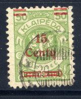 MEMEL (Lithuanian Occupation) 1923 (Dec.) 15 C. On 50 Mk.  Used.  Michel 210 I