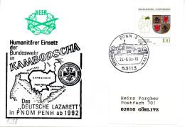 """(BWH2) BRD Cachetumschlag Bundeswehr HEER """"Humanitärer Einsatz Der BW In Kambodscha"""" SSt 23.8.1993 BONN 12"""