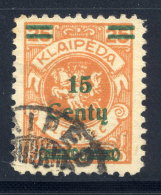 MEMEL (Lithuanian Occupation) 1923 (Dec.) 15 C. On 25 Mk.   Used.  Michel 208 I