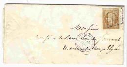 Lettre De Janvier 1855 Affr. Empire 10c Oblitéré Grille - Cachet : Lettre Affie De Paris Pour Paris