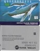 NORFOLK ISL. - Whale & Calf(series No: 3 SCC), Tirage %5000, Used - Norfolk Eiland