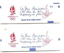 """1991 Jeux Olympiques Albertville :2 Carnets """"Les Jeux...c'est Dans Un An""""l'un ;avec Numéro:9.2  ;l""""autre Sans Numéro."""