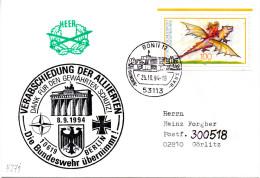 """(BWH-2) BRD Cachet-Umschlag Bundeswehr """"VERABSCHIEDUNG DER ALLIIERTEN"""" SSt 25.10.94 BONN 12"""
