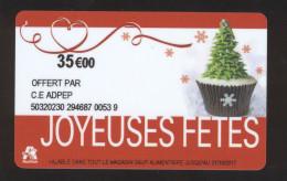 Carte Cadeau Auchan -JOYEUSES FETES - 35 € - CE ADPEP - Cartes Cadeaux