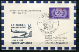 "DDR,GDR 1968  Flight Beleg Leipziger Messeflug Mit Mi.1208 U. SST""Leipzig  BPA-Leipziger Messe ""1 Beleg"